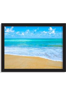 Quadro Decorativo Praia Tropical Azul Preto - Médio