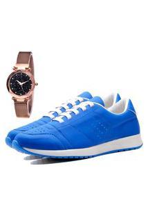 Tênis Sapatênis Casual Elegant Com Relógio Gold Feminino Dubuy 1102-1103La Azul