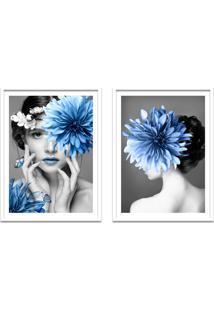 Quadro 67X100Cm Eda Mulher Com Flores Azuis Nórdico Moldura Branca Sem Vidro