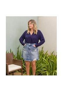 Saia Jeans Com Puídos E Barra Desfiada Curve & Plus Size | Ashua Curve E Plus Size | Azul | 48