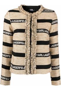 Karl Lagerfeld Jaqueta Com Estampa De Logo - Preto