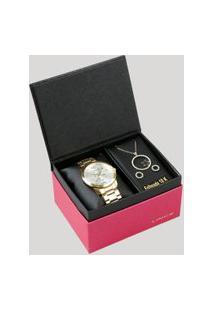 Kit De Relógio Analógico Lince Feminino + Brinco + Colar - Lrgh092L Kv70S2Kx Dourado