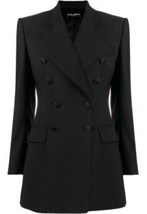 Dolce & Gabbana Double-Breasted Longline Blazer - Preto
