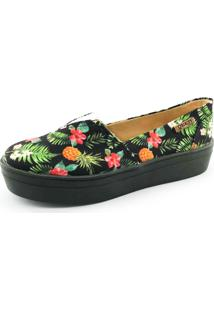 Tênis Flatform Quality Shoes Floral Preto Sola Preta