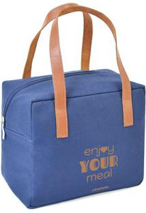 "Bolsa Tã©Rmica ""Enjoy Your Meal""- Azul & Marrom Claroboxmania"