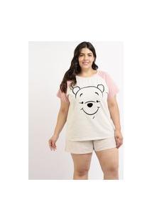 Pijama Feminino Plus Size Ursinho Pooh Blusa Manga Curta Cinza Mescla Claro