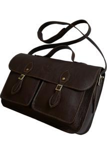 Bolsa Line Store Leather Satchel Pockets Média Couro Marrom Escuro. - Kanui