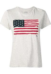 Polo Ralph Lauren Camiseta Com Bandeira Dos Eua - Cinza