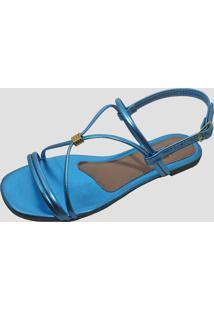 Sandália Rasteira Feminina Moda Pé Metalizado Azul Celeste