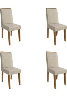 Conjunto Com 4 Cadeiras De Jantar Milena Suede Savana E Bege