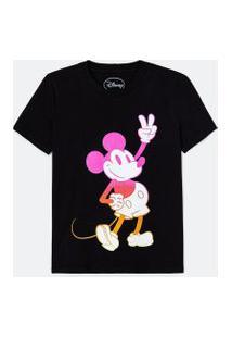 Blusa Alongada Manga Curta Estampa Mickey Degradê   Mickey Mouse   Preto   Pp