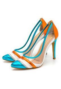 Scarpin Salto Fino Metalizado Multicolorido Feminina Confortável