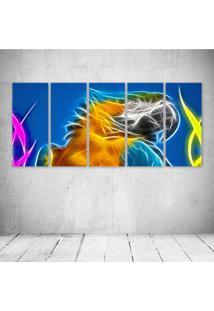 Quadro Decorativo - Parrot Neon - Composto De 5 Quadros