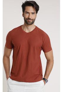 Camiseta Masculina Básica Flamê Manga Curta Gola V Cobre