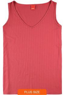 Blusa Vermelha Decote V Canelada