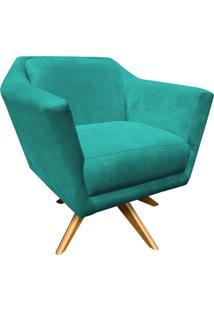 Poltrona Decorativa Lorena D'Rossi Suede Verde Tiffany Com Base Giratória De Madeira