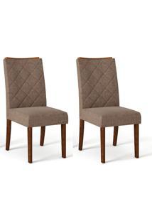 Conjunto Com 2 Cadeiras De Jantar Sara Trufa E Marrom
