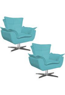 Kit 02 Poltronas Decorativas Gran Opala Base Estrela Em Aã§O Cromado Suede Azul - D'Rossi - Azul - Dafiti
