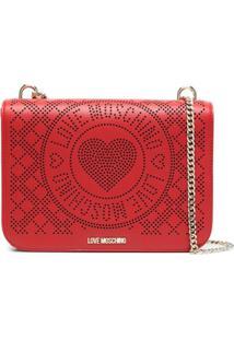 Love Moschino Bolsa Tiracolo Com Logo Perfurado - Vermelho
