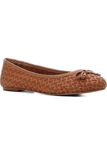 Sapatilha Couro Shoestock Tressê Feminina - Feminino-Caramelo