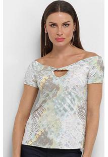 Blusa Aura Estampada Ombro A Ombro Torção Feminina - Feminino-Cinza