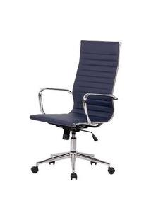 Cadeira Sevilha Eames Alta Pu Azul Escuro Base Cromada 115Cm - 62971 Azul