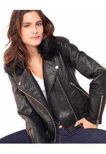 Jaqueta Leather Com Gola Pelo
