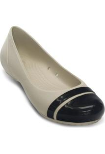 Sapatilha Cap Toe Flat- Off White & Pretacrocs