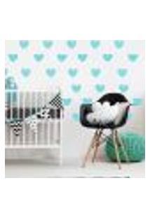 Adesivo De Parede Infantil Coração Azul Chevron