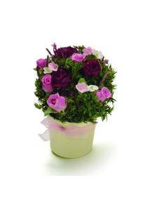Centro De Mesa Bouquet Vaso Red Com Botões De Rosa Rosa Vermelho