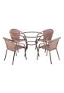 Conjunto Mesa Alta Sem Tampo E 4 Cadeiras Para Área Edicula Jardim Biquini Ferro E Fibra Capuccino