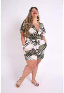 Macacão Kaue Plus Size Abertura Frente Feminina - Feminino-Verde