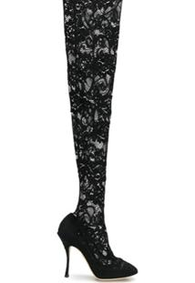 Dolce & Gabbana Bota Over-The Knee Com Renda - Preto