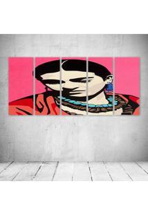 Quadro Decorativo - Frida Pink (2) - Composto De 5 Quadros - Multicolorido - Dafiti