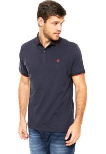 Camisa Polo Timberland Logo Azul