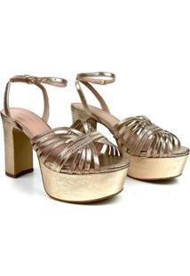 Sandália Emporionaka Couro Plataforma Metalizada Feminina - Feminino-Dourado