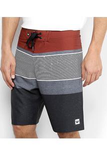 Bermuda Hang Loose Boardshorts Stripe Masculina - Masculino-Vermelho+Preto