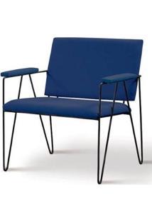 Poltrona Dori Azul Marinho Base Preta 72Cm - 62087 - Sun House