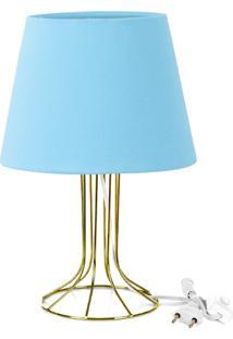 Abajur Torre Dome Azul Bebe Com Aramado Dourado