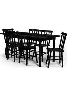 Conjunto De Mesa 160X80 Mônaco Com 6 Cadeiras Assento Grande - Tabaco - Btb Móveis