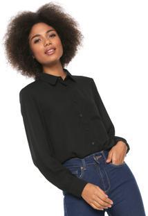 Camisa Lily Fashion Detalhe Preta
