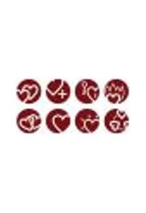Adesivo De Parede - Coração Em Círculos - 007Rm-M