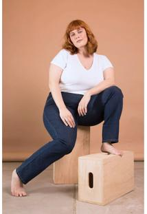 Calça Jeans Reta Cintura Média Bold Plus Size Azul - Tricae