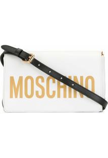Moschino Bolsa Transversal Com Placa De Logo - Branco