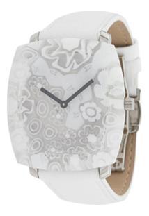 Yunik Relógio Tonneau Com Flores - Branco