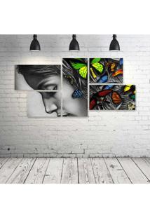 Quadro Decorativo - Women-Abstract-Butterfly - Composto De 5 Quadros - Multicolorido - Dafiti