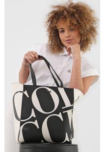 Bolsa Sacola Colcci Lettering Preta/Off-White - Preto/Off White - Feminino - Dafiti