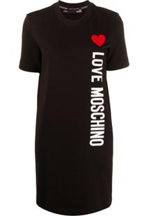 Love Moschino Blusa Mangas Curtas Com Logo - Preto