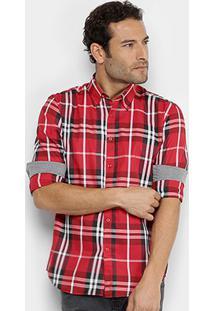 Camisa Xadrez Broken Rules Masculina - Masculino-Vermelho