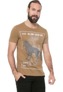 Camiseta Acostamento Estampada Caramelo